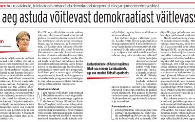 Mall Hellam: On aeg astuda võitlevast demokraatiast väitlevasse